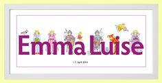 Ausgefallenes Namensbild für Mädchen Patenkind von miko miko   auf DaWanda.com