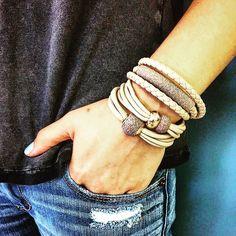 #pesavento polvere #bracelets ... Stack them on pic from @pesaventousa #armcandy #luxury #jewelry #fashion #style #trends #madeinitaly #lovemyjeans #leatherbracets #sterlingsilver #