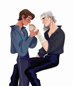 """daryshkart: """"i can't stop thinking about soft moments between Jaskier and Geralt :) """" The Witcher Geralt, Witcher Art, Alucard, The Witcher Series, Fanart, White Wolf, Film Serie, Art Reference, Pop Culture"""