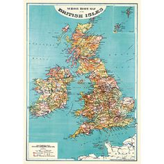 Antique reproduction of British Isles from the 1930s. Ready for framing. $4.99