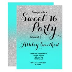Modern silver glitter ombre turquoise Sweet 16 Card - invitations custom unique diy personalize occasions