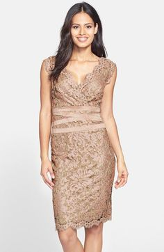 Evening dress embellished metallic lace
