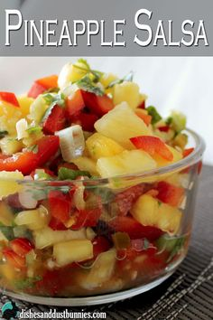 "Pinner said: ""I find that pineapple salsa is amazing on top of pan seared chicken breast or fish but you can also serve it as a salad. Fruit Recipes, Appetizer Recipes, Mexican Food Recipes, Cooking Recipes, Appetizers, Chicken Recipes, Dessert Recipes, Healthy Snacks, Healthy Eating"