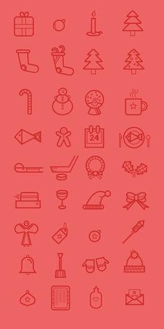 30 outline Christmas icons #freebie #christmas