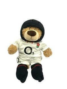 Build A Bear Factory England Rugby Player brown White roses Twickenham Jellycat, Rugby Players, Build A Bear, White Roses, Plush, England, Teddy Bear, Toys, Brown