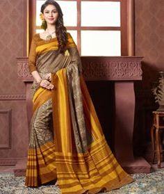 Buy Mustard Art Silk Printed Saree With Blouse 73873 with blouse online at…