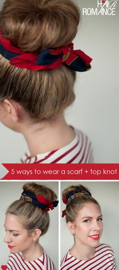 Take your top knot to the next level by tying  it up with a scarf.