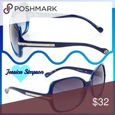 NEW! Navy Bedazzled Square Sunglasses NEW! Protect yourself from harmful UV rays in these navy sunglasses adorned with crystals.  These stylish sunnies are new from the Jessica Simpson Collection- they are not only good for your health but are also good for your ensemble. Retro chic and a summer must! Jessica Simpson Accessories Sunglasses