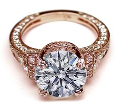 Large Round Diamond Cathedral Graduated pave Engagement Ring In  Rose Gold
