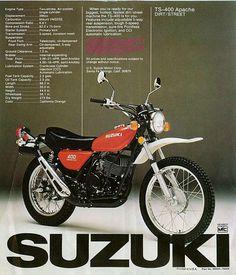 Suzuki Ts 400 Apache Motorcross Bike, Enduro Motorcycle, Motorcycle Posters, Sport Motorcycles, Suzuki Bikes, Kawasaki Bikes, Honda Bikes, Motos Trial, Cool Dirt Bikes