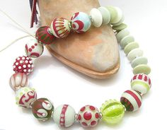 CLO Handmade glass lampwork beads - Frosted Lime Margarita