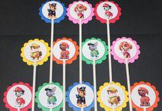 Pata de patrulla Cupcake Toppers cuenta 12 primeros de la