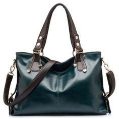 BlueVega European style Oil wax Genuine Leather Cowhide Fashion Women handbags shoulder bags-brown: Amazon.co.uk: Shoes & Bags