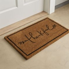 Thanksgiving Home Decor - Crate & Barrel thankful doormat. A great reminder to be thankful each day. Outdoor Thanksgiving, Thanksgiving Decorations, Fall Decorations, Thanksgiving 2016, Joanna Gaines, Crate And Barrel, Porch Decorating, Decorating Your Home, Coir Doormat