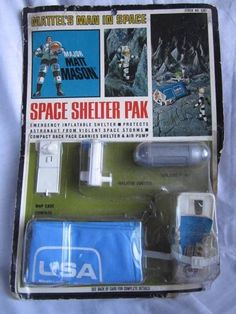 VINTAGE 1967 MATTEL MAJOR MATT MASON SPACE SHELTER PAK ON CARD 1960'S TOY #Mattel