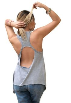 Grey loose open back top / Cotton top / by PepperFashion on Etsy