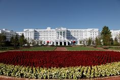The Greenbrier plants a staggering number of flowers each fall!  www.greenbrier.com