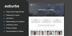 """Suburbs is a responsive multi-purpose theme suitable for any business (corporate, agency, portfolio and blog websites). Suburbs is easy to customize through its amazing """"Page Builder"""": with this drag-and-drop feature you can structure the content on your pages without ever having to touch a line of code."""