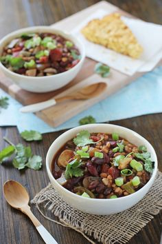 Crockpot Vegetarian Chili with Farro - Cook Nourish Bliss