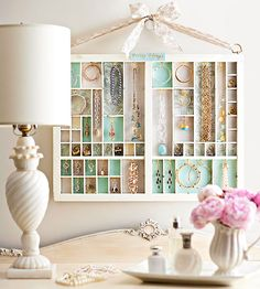 Turn a vintage printer's tray into storage for your favorite jewelry and art for your bedroom walls: http://www.bhg.com/decorating/do-it-yourself/wall-art/diy-wall-art/?socsrc=bhgpin102714jewelrycase&page=6
