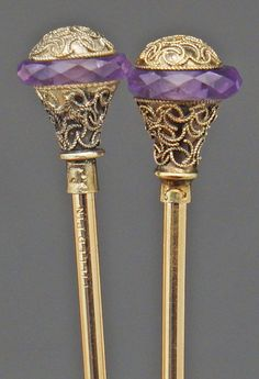 Victorian Etruscan Revival Filigree Gold Fill & Amethyst Crystal Two Hat Pin Set....Uploaded by www.1stand2ndtimearound.etsy.com