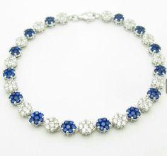 Platinum over 925 Solid Sterling Silver White & Blue Sapphire Flower Tennis Bracelet - Gem Artistry, LLC