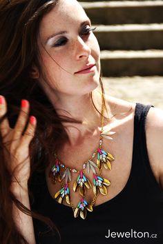 Brunette czech girl, statement necklace, colourful, interesting, jewellery, www.jewelton.cz