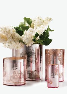 Add a vintage touch with our wholesale, antique pink glass cylinders. These light pink mercury glass vases come in four different sizes. Wedding Centerpieces, Wedding Decorations, Wedding Ideas, Wedding Reception, Wedding Stuff, Wedding Flowers, Dream Wedding, Glass Centerpieces, House Decorations
