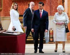 Queen Elizabeth II, Mexican President Enrique Pena Nieto and Angelica Rivera attend a ceremonial welcome for The President Of United Mexican States at Horse Guards Parade on March 3, 2015 in London, England.