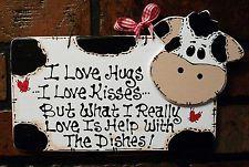 cow decor   COW Hugs~Kisses~Dishes KITCHEN SIGN Country Barnyard Folk Art Decor ...