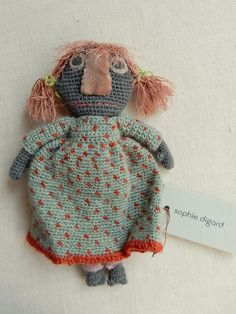 "6"" doll, hand crocheted in a little polka dot dress !"