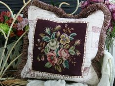 Parisian Bouquet Salvaged Needlepoint Pillow Slip~~ www.WollWorks.com