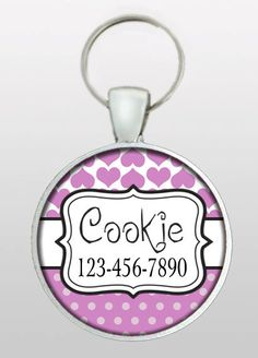 Pet ID Tag - Dog ID Tag  - Dog Name Tag - Valentine Dog Tag - Cat ID Tag - Girly Dog Tag - Gifts for Dogs - Design No. 220