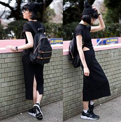 Get this look: http://lb.nu/look/8120460 More looks by Samantha Mariko: http://lb.nu/samanthamariko Items in this look: Tobi Dress, Klasse14 Voltare Rainbow Watch, Nike Huarache Sneakers, Salz Tokyo Beanie, Marc By Marc Jacobs Backpack, Zero Uv Sunglasses #casual #chic #street #allblackeverything #blogger #tokyo #spring #tobi #marcbymarcjacobs