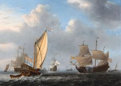 Willem van de Velde the Younger (1633-1707), 1654 - - - A States Yacht from the Admiralty of Amsterdam Before a Moderate Breeze Meeting a Dutch Two-decker