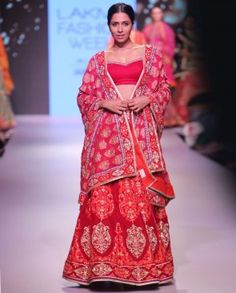 Zari Embroidered Crimson Red Lengha Set