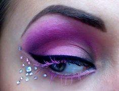 Violet Eye Shadow & Rhinestones ¸.•*´¨`*•