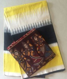 #saree #ikat #ikkat or telia rumal saree matched with kalamkari block print…