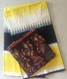 #saree #ikat #ikkat or telia rumal saree matched with kalamkari block print…