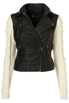Black Knitted Sleeve Faux Leather Biker Jacket - View All - Topshop USA - StyleSays