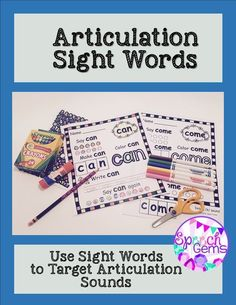 Using Kindergarten and First Grade sight words is a great way to practice articulation skills in the context of the regular education curriculum. They can be used in therapy and then sent home as reinforcement.