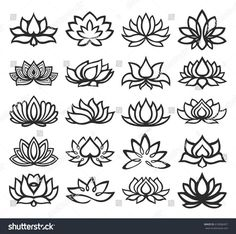 Find Vector Set Lotus Icons stock images in HD and millions of other royalty-free stock photos, illustrations and vectors in the Shutterstock collection. Thousands of new, high-quality pictures added every day. Mini Tattoos, Small Tattoos, Lotus Symbol, Mehndi Designs, Tattoo Designs, Small Lotus Tattoo, Lotus Tatoos, Lotus Flower Art, Lotus Art