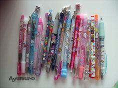 My Amazing Sanrio pen collection! Japanese School Supplies, Cute School Supplies, Stationary Supplies, Cute Stationary, School Stationery, Kawaii Stationery, Hello Kitty House, Fancy Pens, Kawaii Pens