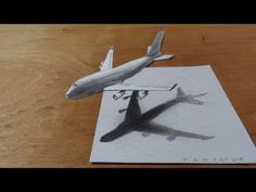 How I Draw a 3D Airplane, Boeing 747 Flight Illusion - YouTube