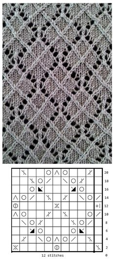 Free knitting stitch pattern, chart only Lace Knitting Stitches, Lace Knitting Patterns, Knitting Charts, Lace Patterns, Easy Knitting, Stitch Patterns, Knitting Needles, Knitting Projects, Points