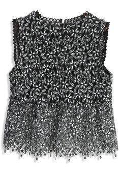 Flower Drawing Crochet Sleeveless Top in Black - New Arrivals - Retro, Indie and Unique Fashion