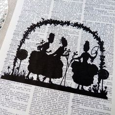 Dictionary Art Print - Upcycled Vintage Paper - Ladies in the Garden Silhouette Print - 7-3/4 x 10-3/4