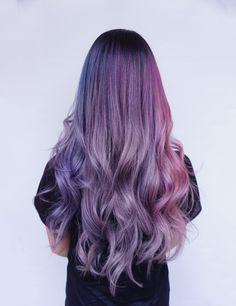 Muted blue purple and pink! Green Hair, Purple Hair, Ombre Hair, Curly Hair Tips, Curly Hair Styles, Shot Hair Styles, Dye My Hair, Aesthetic Hair, Gorgeous Hair