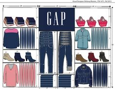 Wall planogram created for GAP using for Adobe Illustrator and Photoshop.