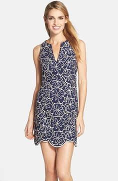 Lilly Pulitzer® 'Augusta' Metallic Eyelet Shift Dress available at #Nordstrom